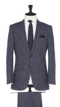 Blue Wool and Cotton Stripe Suit