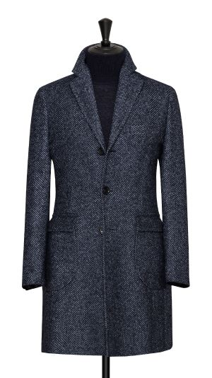 Blue Herringbone Overcoat