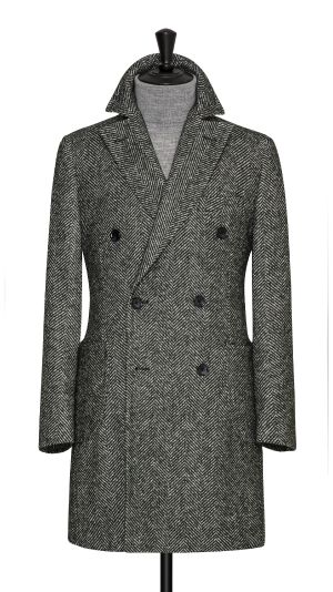 Green Herringbone Overcoat