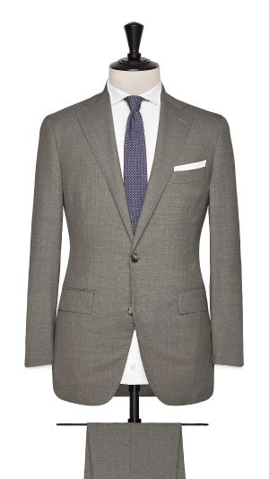 Brown Wool Plain Suit