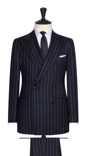 Blue and Grey Stripe Suit