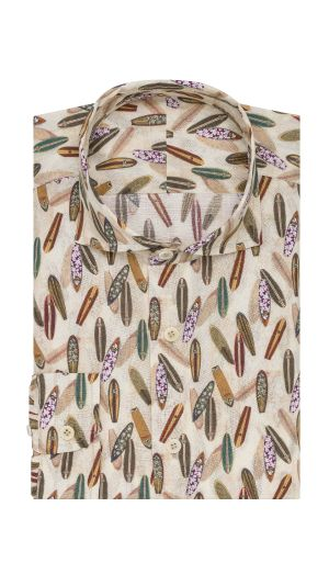 Cream Surfboard Print Shirt
