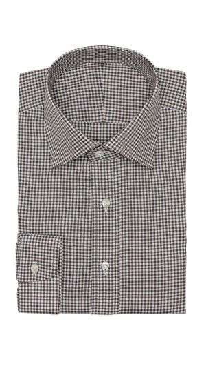 White Brown Check Shirt