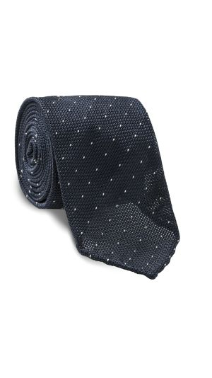 Navy Blue and White Spotted Tie