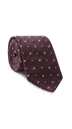 Burgundy with Grey and White Spotted Tie