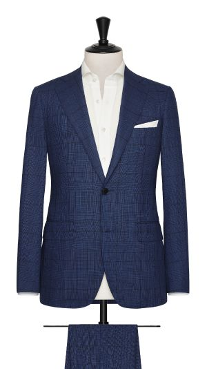Blue Wool Check Suit