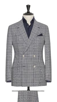 Blue and White Wool Check Suit