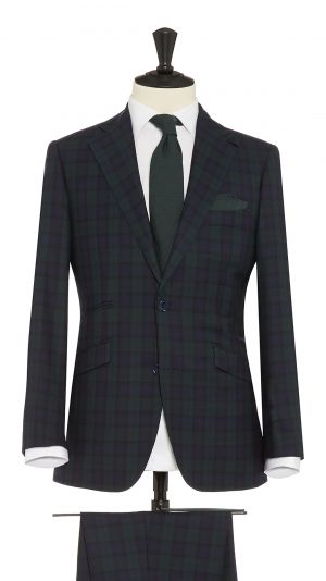 Navy Blue, Green and Black Wool Tartan Check Suit