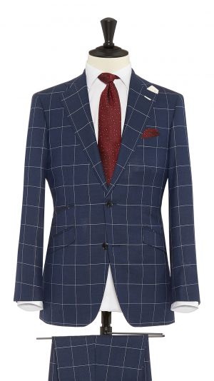 Navy Blue Wool Check Suit