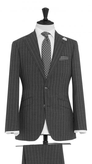 Grey Wool Pin Striped Suit