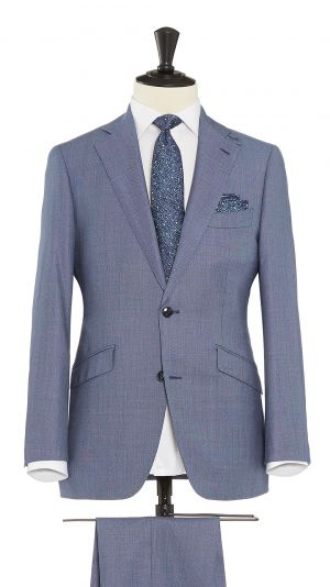 Light Blue Wool Birdseye Suit