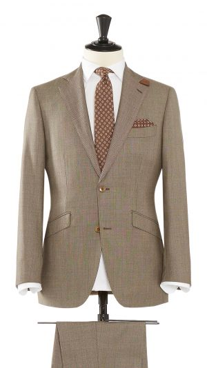 Brown Wool Birdseye Suit