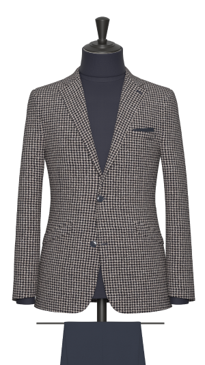 Brown and Navy Houndstooth Jacket