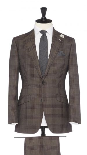 Brown Wool Check Suit