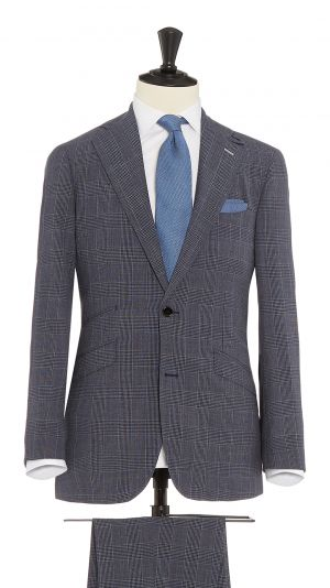 Navy Blue and Purple Wool with Stretch Check Suit
