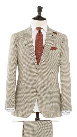 Cream and Brown Wool with Stretch Gingham Check Suit