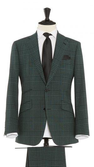 Green Wool, Silk & Mohair Check Suit