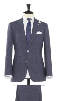 Light Blue Wool Check Suit