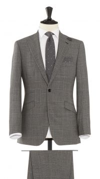 Silver Grey Wool Check Suit