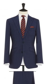 Blue Wool Pin Striped Suit