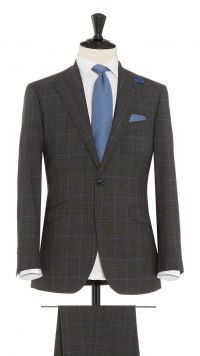 Charcoal Grey and Blue Wool Check Suit