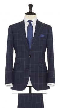 Navy Blue and Silver Wool Check Suit