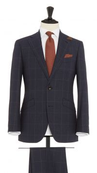 Blue and Brown Wool Check Suit