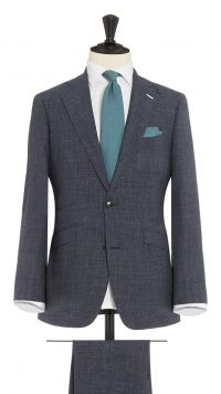 Blue Wool, Silk and Linen Sharkskin Suit