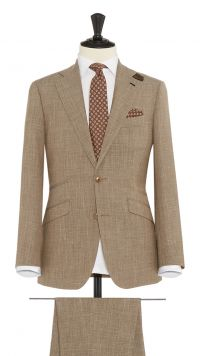Beige Wool, Silk and Linen Sharkskin Suit