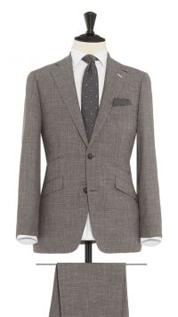 Grey Wool, Silk and Linen Sharkskin Suit