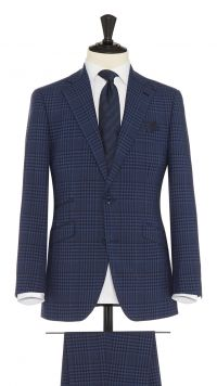 Navy Blue Wool, Silk & Mohair Check Suit