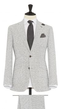 White and Grey Linen and Polymide Boucle Suit