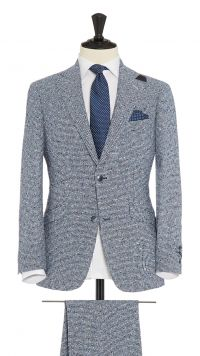 Blue and White Linen and Polymide Boucle Suit
