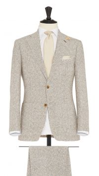 Brown and White Linen and Polymide Boucle Suit