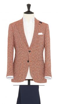 Orange, White and Navy Blue Linen and Polymide Jacket