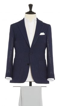 Blue Wool, Silk and Polymide Jacket