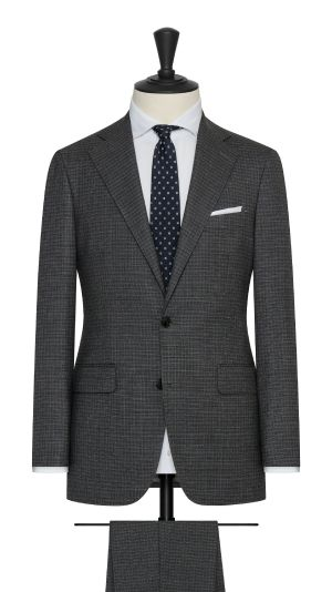 Anthracite and Black Mouline Blend Suit With Navy Stripe