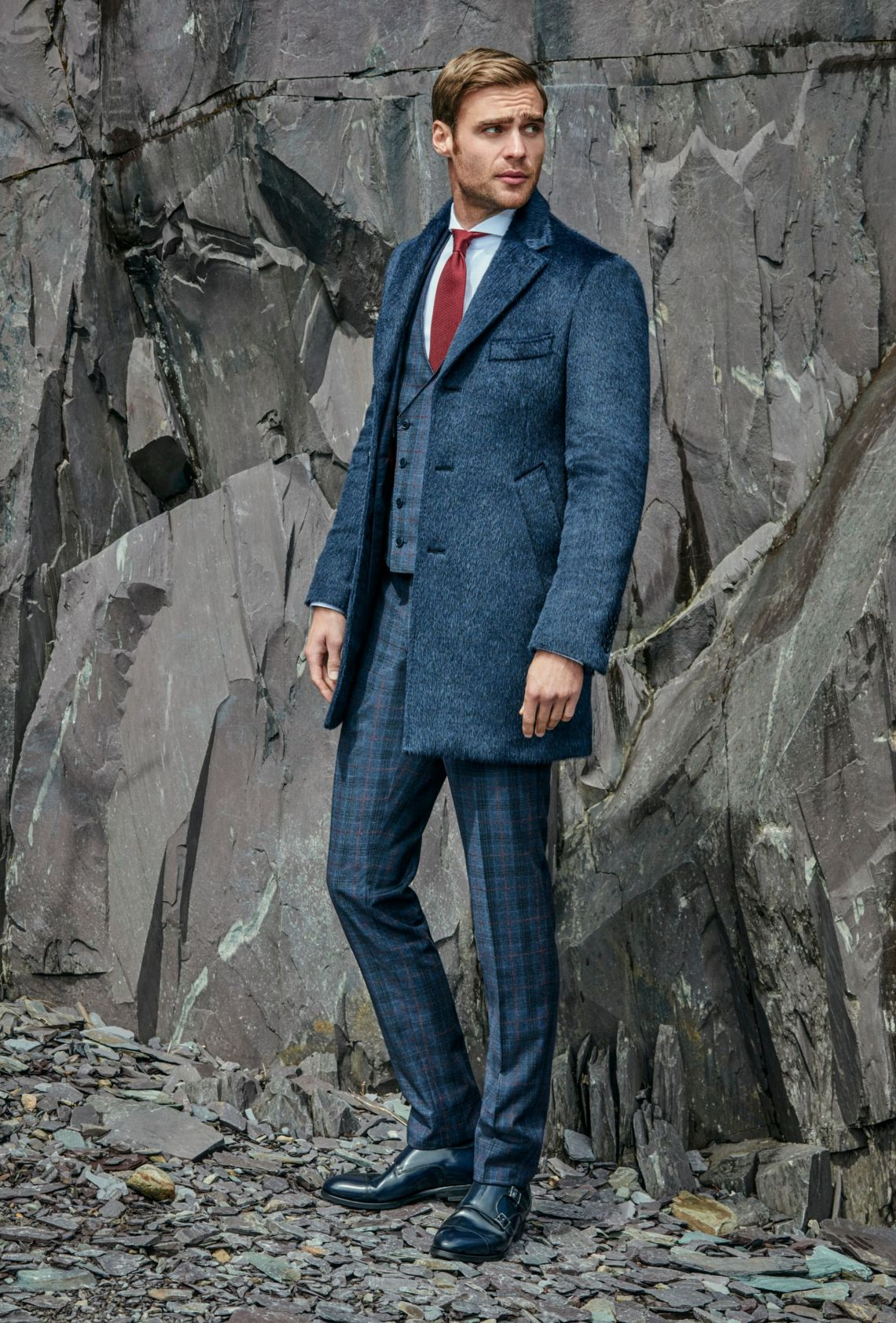 custom made alpaca blue overcoat