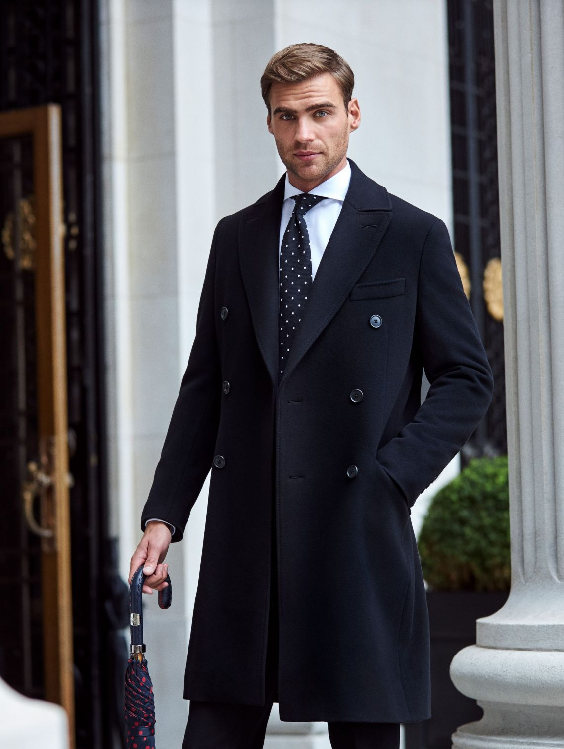 bespoke black double breasted overcoat