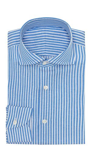 Azure Blue and White Striped Shirt