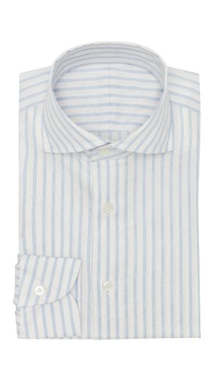 White and Sky Blue Striped Shirt