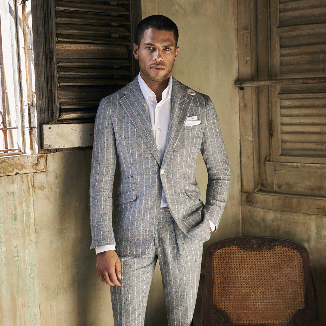 linen stripe summer suit by clements and church