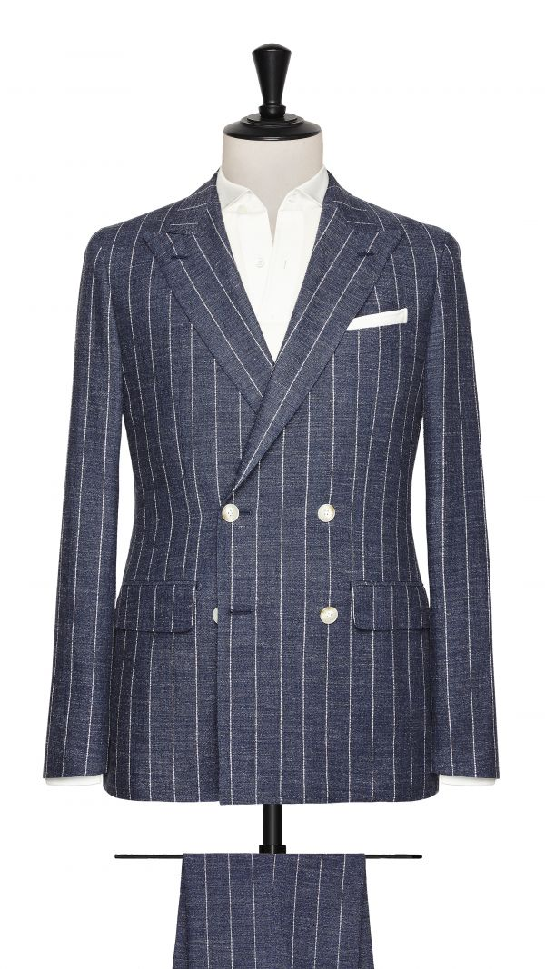 Blue Silk and Linen Striped Suit