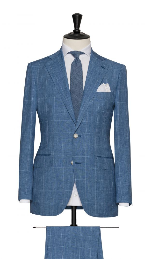 Blue Linen, Wool and Silk Check Suit