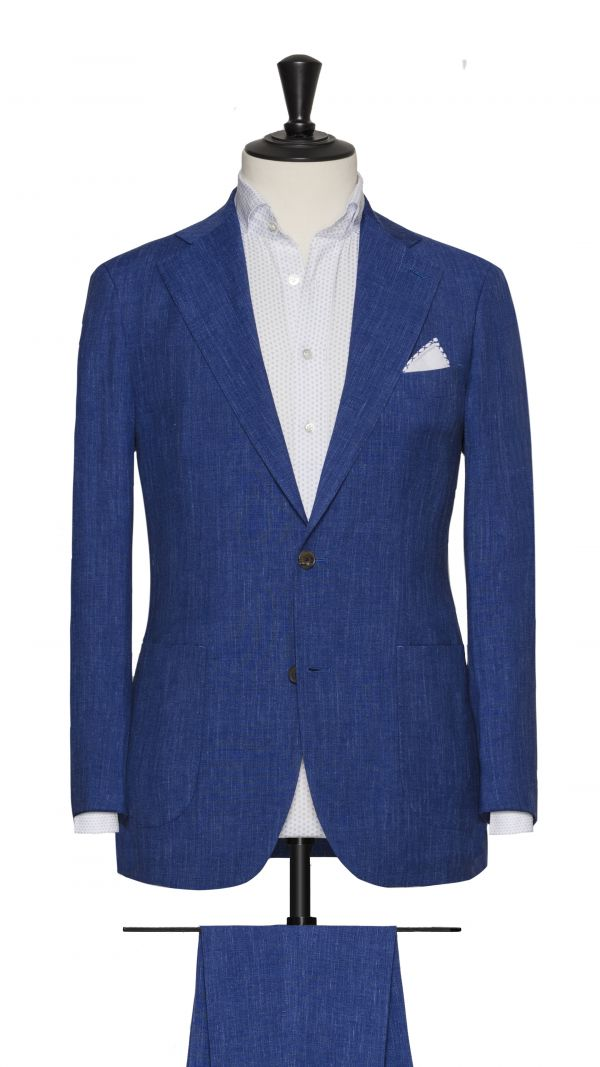 Blue Linen, Wool and Silk Suit