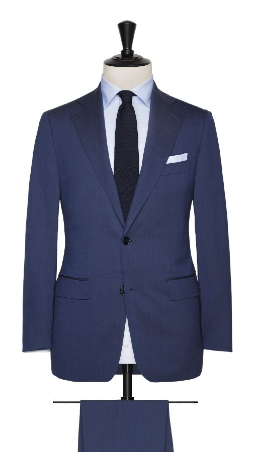 Blue Wool Stretch Suit