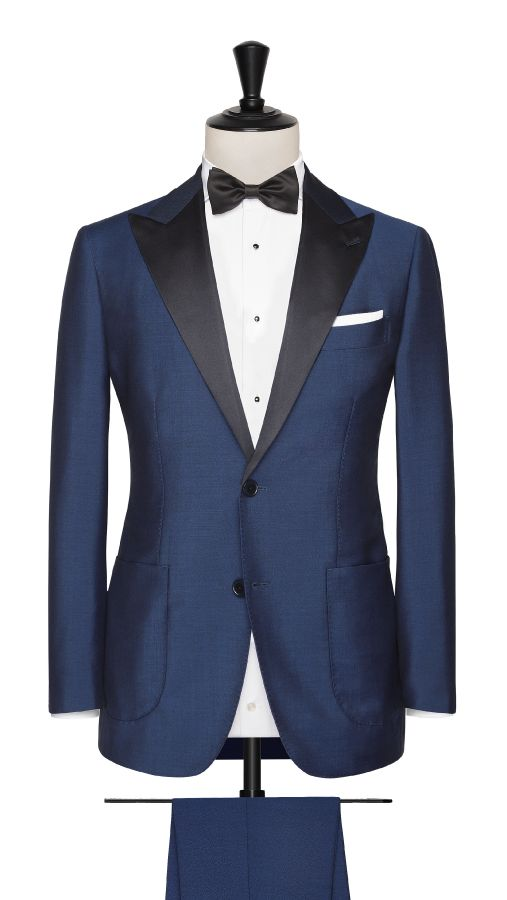 Blue Wool and Mohair Plain Suit
