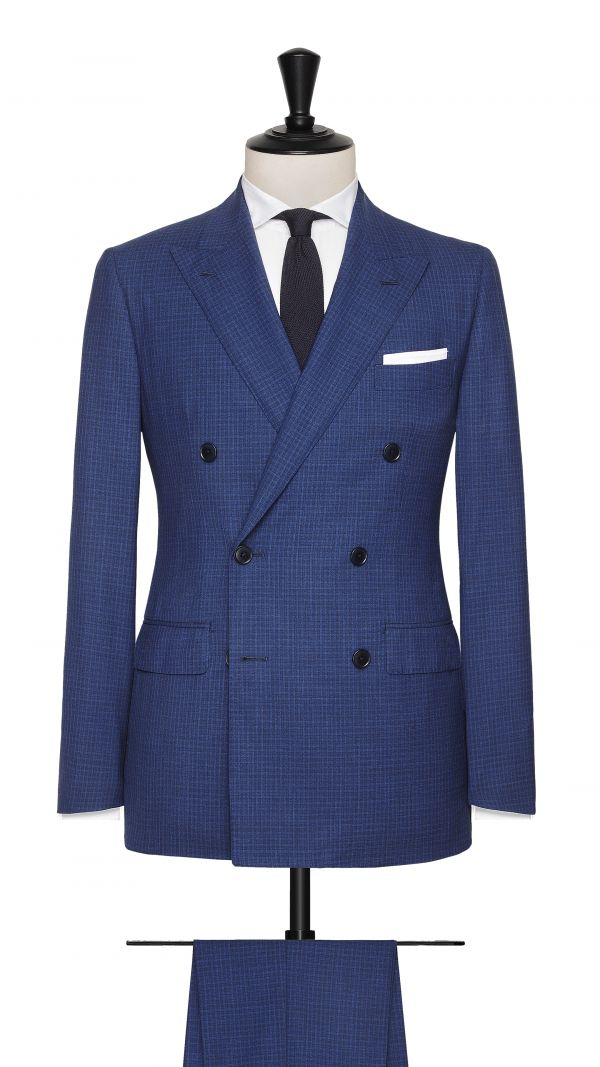 Blue Wool Checekd Suit