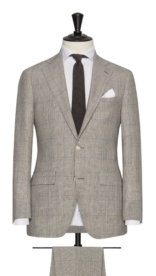 Beige Linen, Wool and Silk Check Suit
