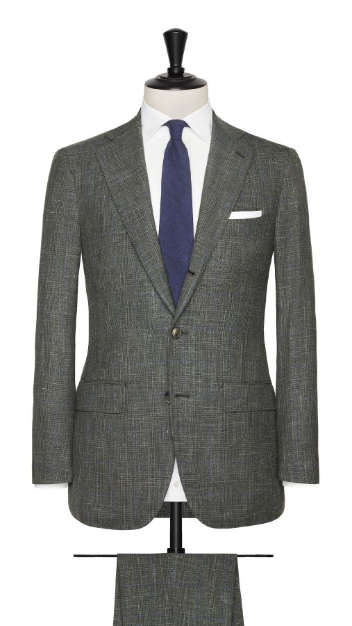 Green Wool, Silk and Linen Check Suit